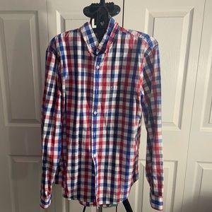 Express:  Red & Blue Plaid Shirt (L)
